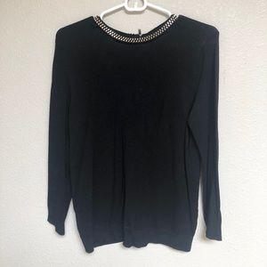 Zara Women Black Knit Sweater sparkly Neck M
